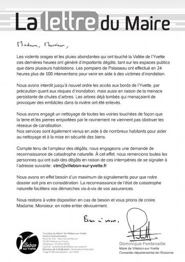 LETTRE DU MAIRE - SUITE AUX INTEMPÉRIES - JUIN 2018