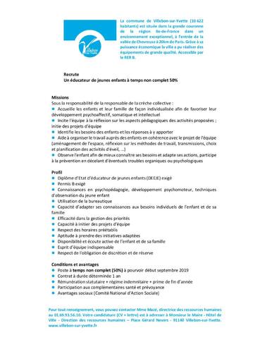 EDUCATEUR DE JEUNES ENFANTS A TEMPS NON COMPLET 50%