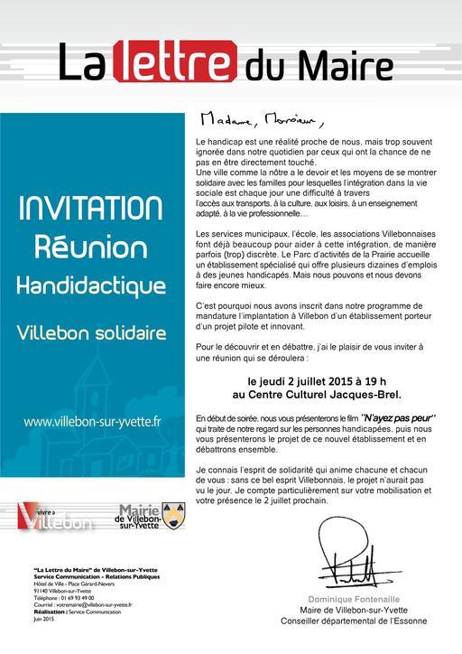 Lettre du Maire - Réunion Handidactique - juillet 2015
