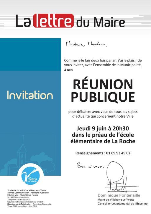 Lettre du Maire - Réunion publique - juin 2016