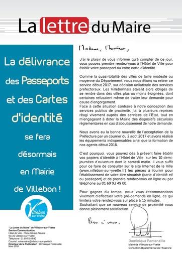 LETTRE DU MAIRE - DÉLIVRANCE DES CARTES D'IDENTITÉ ET PASSEPORTS - AVRIL 2018
