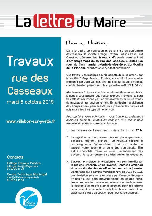 Lettre du Maire - Travaux rue des Casseaux - octobre 2015