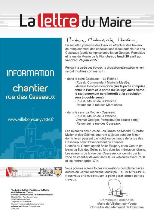 Lettre du Maire - Chantier rue des Casseaux - avril 2015