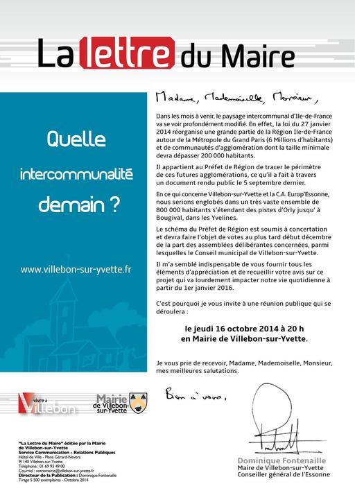 Lettre du Maire - Réunion publique sur l'intercommunalité - octobre 2014