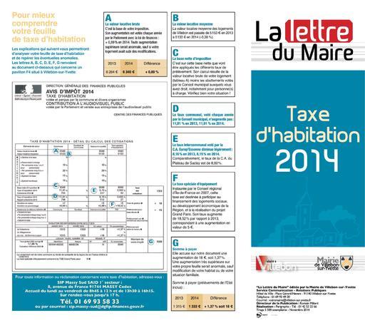 Lettre du Maire - Taxe habitation - novembre 2014