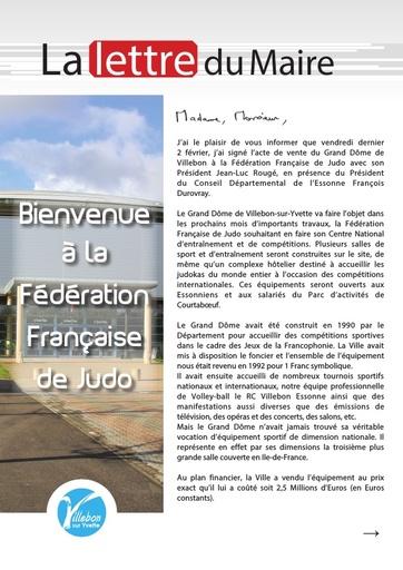 lettre du Maire - vente du Grand Dôme - Février 2018