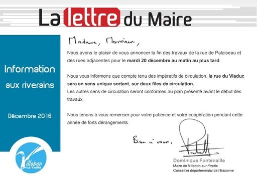 Lettre du Maire - fin travaux rue de Palaiseau - décembre 2016