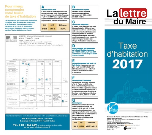 Lettre du Mairie - Taxe d'habitation - octobre 2017