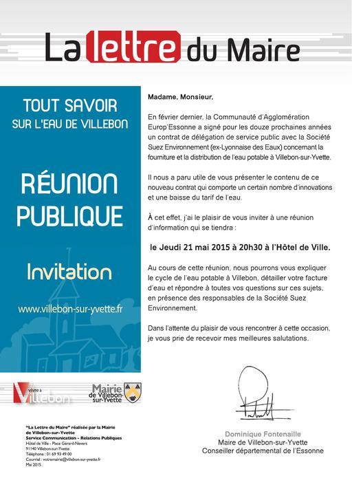 Lettre du Maire - Réunion publique sur l'eau potable - mai 2015