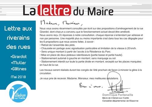 Lettre du Maire - Rue Girardot