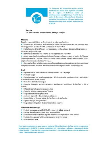 EDUCATEUR DE JEUNES ENFANTS EN CRECHE COLLECTIVE