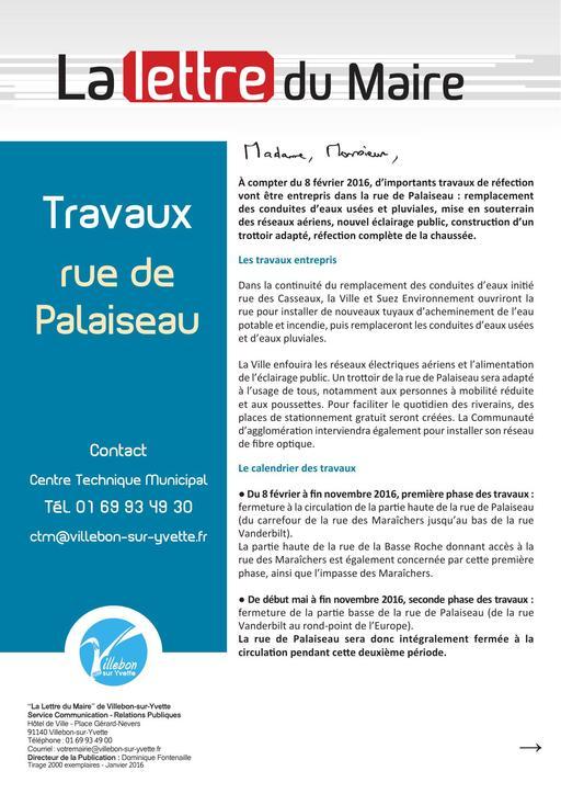 Lettre du Maire - Travaux rue de Palaiseau - janvier 2016