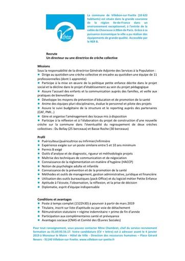DIRECTEUR OU DIRECTRICE DE CRECHE COLLECTIVE