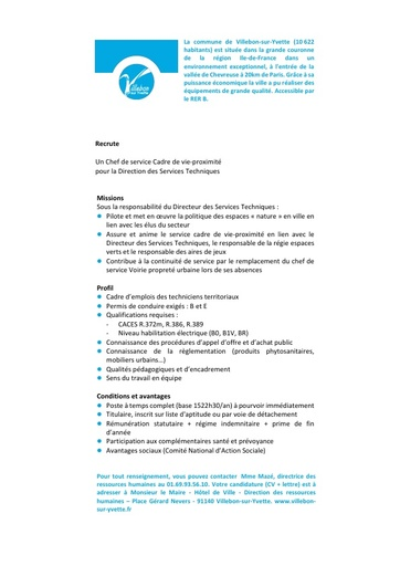 CHEF DE SERVICE CADRE DE VIE