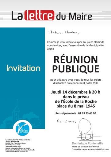Lettre du Maire - Réunion Publique 14 décembre 2017