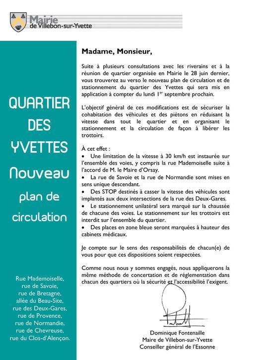 Lettre du Maire - Nouveau plan de circulation quartier des Yvettes - août 2014