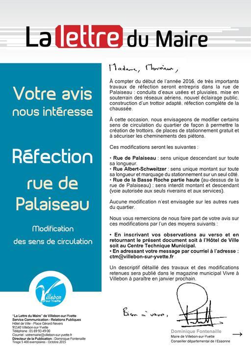 Lettre du Maire - Réfection rue de Palaiseau - octobre 2015