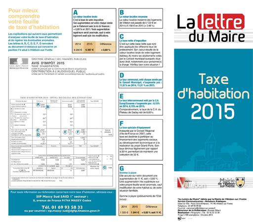 Lettre du Maire - Taxe habitation - octobre 2015