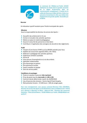 EDUCATEUR SPORTIF VACATAIRE ECOLE DES SPORTS