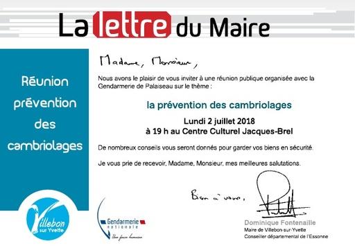 Lettre du Maire - Réunion publique - Prévention des cambriolages - juillet 2018