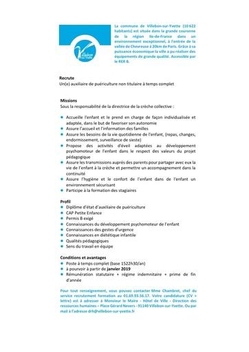 AUXILIAIRE DE PUERICULTURE NON TITULAIRE A TEMPS COMPLET