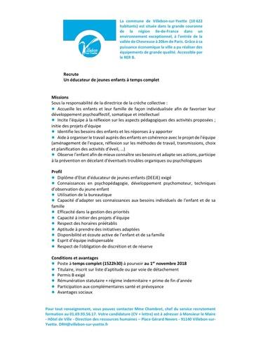 EDUCATEUR DE JEUNES ENFANTS A TEMPS COMPLET