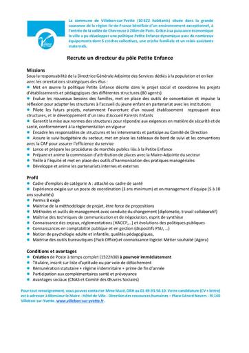 COORDINATEUR OU COORDINATRICE POUR LE POLE PETITE ENFANCE