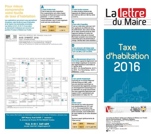 Lettre du Mairie - Taxe d'habitation - octobre 2016