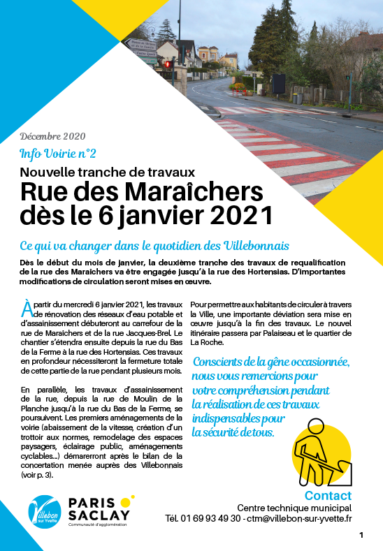 Info Voirie - Travaux rue des Maraîchers - Tranche 2
