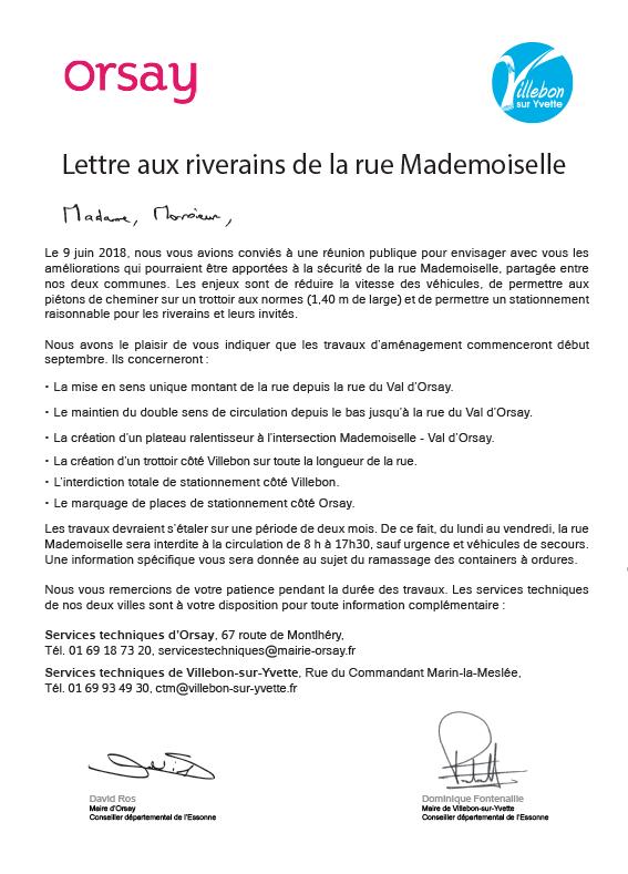 Lettre aux riverains  - Travaux travaux d'aménagement rue Mademoiselle