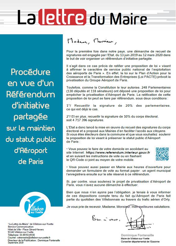 Lettre du Maire - Référendum d'initiative partagée