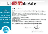 Lettre du Maire - Rue de Savoie