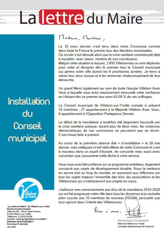 Lettre du Maire Nouvelle municipalité