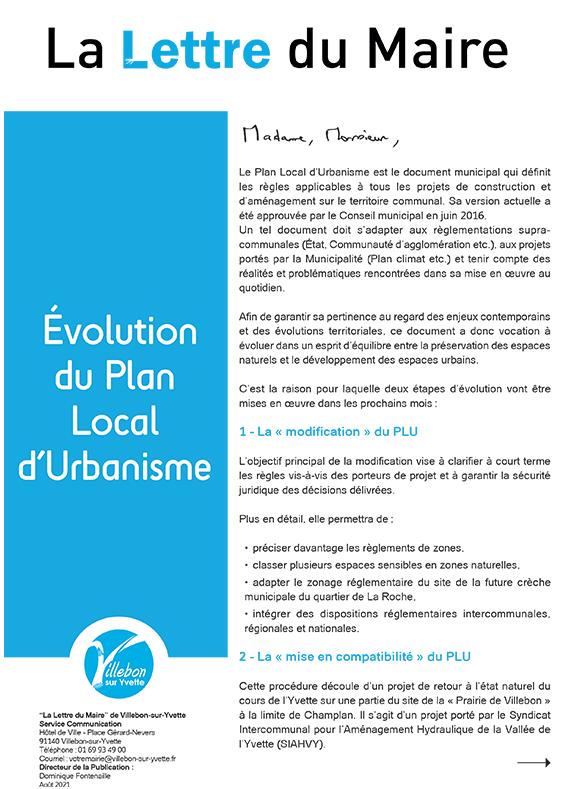 Lettre du Maire - Évolution du Plan local d'Urbanisme