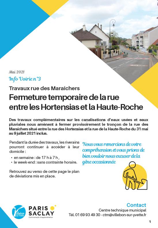 Info Voirie #3 - Travaux rue des Maraîchers