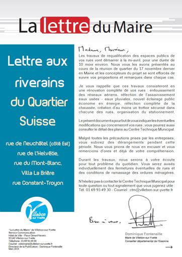 Lettre du Maire - Rénovation rues du Quartier Suisse